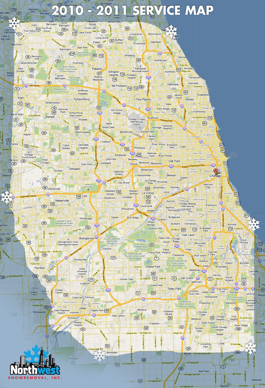 Northwest Chicago Map.Northwest Snow Removal Service Area Map Commercial Plowing